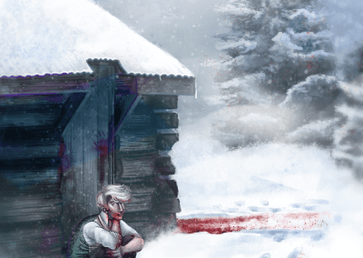 whitefield project painting man sitting in front of cabin snow with blood